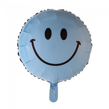 Lyseblå smiley ballon