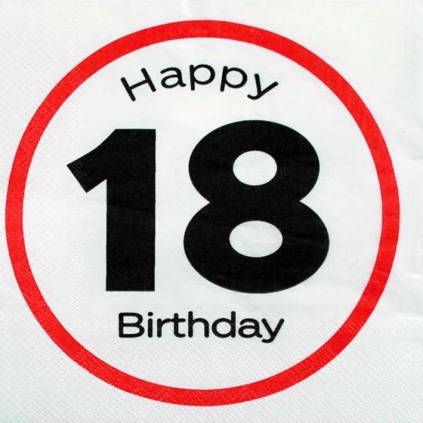 Servietter 18 år | 18 års fødselsdags fest | Happy