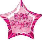 Happy Birthday stjerne ballon pink