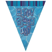 Happy Birthday Flag banner blå