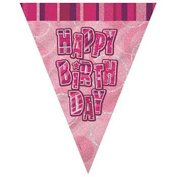Happy Birthday Flag banner pink