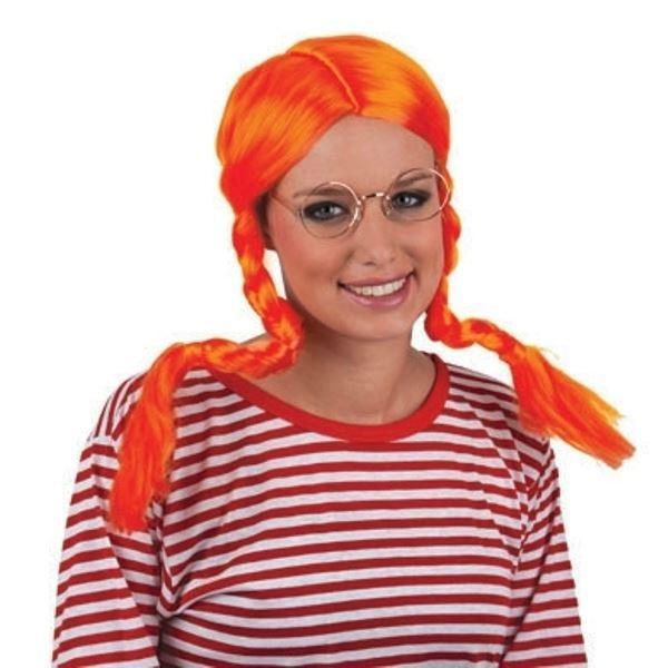 Pippi Langstrømpe Paryk | Flot orange paryk med fletninger.