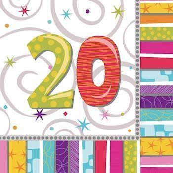 20 års kort Servietter 20 år | 20 års fødselsdag | Voksen fest 20 års kort