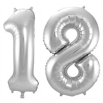 tal 18 år Køb kæmpe folieballon i sølv som et 18 tal folieballoner til helium tal 18 år